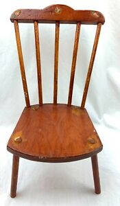 """Vtg 1940's /1950's Handmade Hand Crafted Wooden Doll Chair 7""""x8""""x15"""" mahogany"""