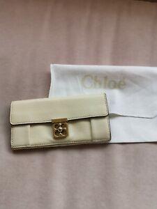 Chloé Portemonnaie Damen Leder Elfenbein ORIGINAL 19,5x9,5cm sehr guter Zustand