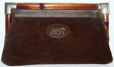sac pochette à main en daim  cuir et fermoir plastique façon bambou