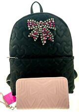 Betsey Johnson Jeweled Bow Large Black School Backpack BM20750