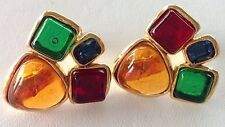 VINTAGE 80'S CHANEL GRIPOIX AMBER EMERALD RUBY GOLD SAPPH EARRINGS 94A COLLECTIO