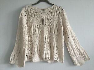 NWT Chelsea & Theodor CREAM Wool Blend Bell Sleeve Crochet Sweater size S