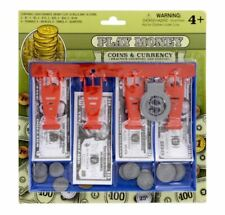 Play Money Sets, 34 pc 16 paper bills 16 coins plastic cash drawer. Color Blue