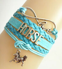 Cute Infinity Love HORSE With Money Horse Charms Leather European Bracelet Blue