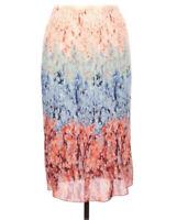 H&M Womens Size 8 Blue Orange Floral Print Accordian Pleated Midi Skirt I20