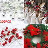 100x Artificial Red Holly Berries Garland Christmas Tree Decor Ornament Xmas DIY
