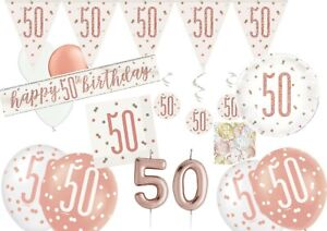 50th ROSE GOLD Sparkling Happy Birthday Banner Flag Bunting Balloons decorations