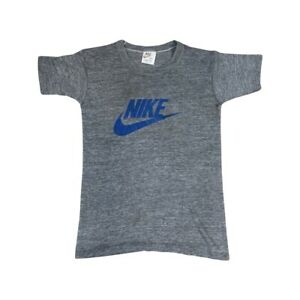 Vintage Nike Swoosh Logo Tag 70's Athletic Sport Gray T-Shirt - Youth Size Large