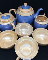 Vintage Japanese Lusterware Tea set - Blue with Orange -7pc set - Takito