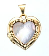 9ct Yellow Gold Hallmarked Mother Of Pearl & Engraved Heart Locket Pendant