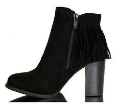 Stiefel Stiefeletten Ankle Boots Cowboy Pumps Fransen Hoher Absatz Schwarz 36