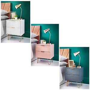 Stylish 2 Drawer Bedside Cabinet Storage Bedroom Table Lamp With Gold Metal legs