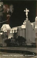 1939 RPPC Golden Gate Expo San Francisco CA Evening Star Court of Honor Unposted