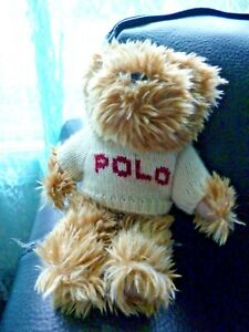 Ralph Lauren POLO Teddy Bear plush toy carmel color with sweater 2002 9""