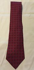 Tommy Hilfiger Neck Tie 100% Silk Made in USA Red Blue Geometric Squares