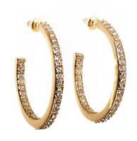 Swarovski Elements Crystal Open Hoop Pierced Earrings Gold Authentic New 7964w