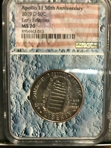 2019 D Apollo 11 50th Clad Half Dollar NGC MS70 ER Flag Label Moon Core