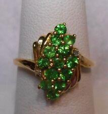 New~1.5 ct Genuine Green Tsavorite & Diamond Accents 10K Yellow Gold Ring Sz 7