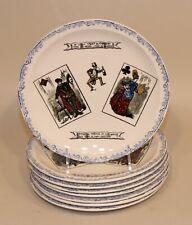 8 HBCM Hippolyte Boulenger Creil Montereau France Playing Card Faience Plates