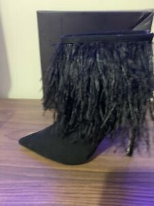 BNIB Ladies Little Mistress Feathered High Heel Ankle Boots Black Size 8/41