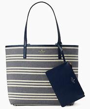 NWT Kate Spade Mya Reversible Leather Tote + Pouch Navy / Fabric Stripe WKRU5701