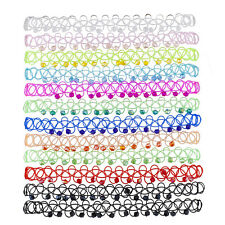 Lux Accessories 12PC Beaded Tattoo Elastic Choker Necklace Set Multi Colored