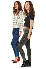 FBS Ladies Skinny Leg Acid Wash Dark Blue Black Push Up Jeans