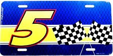 NASCAR #5 Racing team w/crossed flags  New aluminum auto tag Novelty license