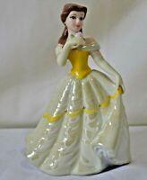 "Disney Princess Belle Porcelain Ceramic Figurine Sri Lanka Yellow Dress 6 1/2"""