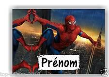 Plaque de porte en ( sur ) bois  Spiderman  avec prénom   N° 134