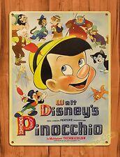 TIN SIGN Walt Disney's Pinocchio Movie Attraction Ride Art Poster
