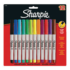 SHARPIE ULTRA FINE PERMANENT MARKER PEN / ASSORTED COLOUR PACK OF 12 / S0941891