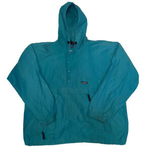 Vtg Patagonia 1/2 Zip Teal Men's Anorak Packable Windbreaker Jacket Sz Large USA