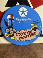 "VINTAGE STYLE ""PLYMOTH''   GAS & OIL PLATE HEAVY PORCELAIN SIGN 12 INCH"