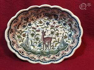 Vintage Coimbra Ceramics Portugal Hand Painted Oval Serving Bowl Signed