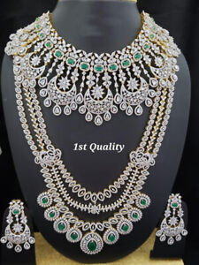 Indian Bollywood Style CZ AD Wedding Silver Fashion Jewelry Bridal Necklace Set