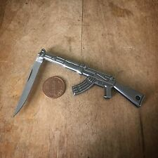 AK-47 Rifle Knife - Silver Stainless Steel Pendant Charm, Jewelry Miniature Gun