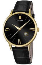 Festina F16825/4 Herrenuhr Gold Schwarz Leder *NEU