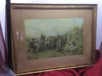 Antique Gilded Gilt Wall Picture Wood Frame Thanksgiving Feast Print Deco Estate