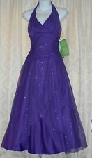 Masquerade Junior Satin & Tulle Corset Back Formal Halter Gown Purple 5/6 NWT