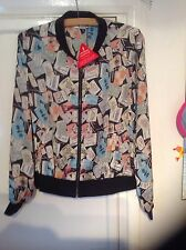 BNINPACKET..LIGHTWEIGHT PRINTED BOMBER SIZE 14.RRP £30.00