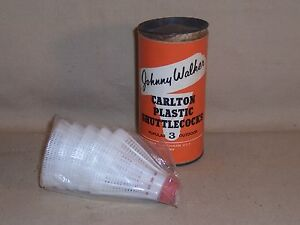 Vintage Carlton Container with 5 Plastic SHUTTLECOCKS Johnny Walker England