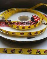 """Free P&P UK stock 3/8"""" (9mm) Gift Minnie Mouse GROSGRAIN Printed Ribbon AV044"""
