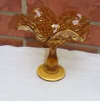 Vintage Amber Compote Candy Dish