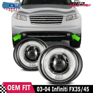 For Infiniti FX 03-05 Factory Replacement Halo Projector Fog Lights Clear Lens