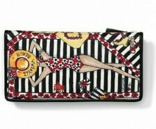 NWT Brighton IPANEMA Leather Large Wallet Snap Zip Red Black Beach  MSRP $135
