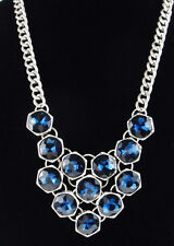KENNETH COLE New York 'Midnight Sky' Blue Bead Silver-Tone Frontal Necklace $65