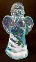 "Fenton Art Glass Hand Painted "" Winter Wonderland "" On Aquamarine Carnival Angel"
