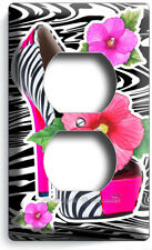 HOT PINK ZEBRA HIGH HEEL SHOES HIBISCUS FLOWERS OUTLET WALL PLATE BEDROOM DECOR