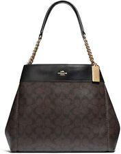 NWT COACH Lexy PVC Shoulder Bag in Signature (IM/Brown & Black/Light Gold)